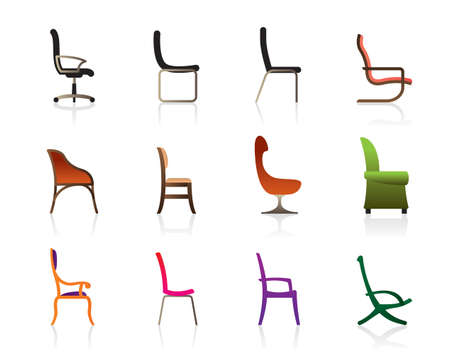 Luxury, office, interior and plastic chairs Vector
