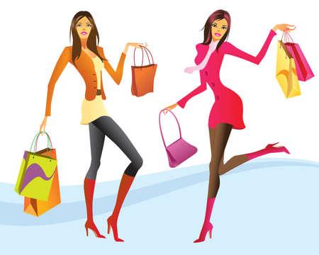 tienda de zapatos: Las niñas de compras en la ilustración de acción