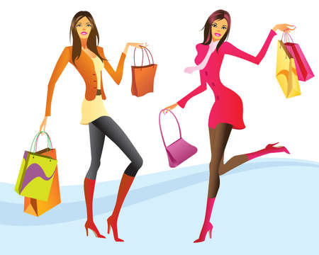 fashion bag: Shopping girls in action illustration