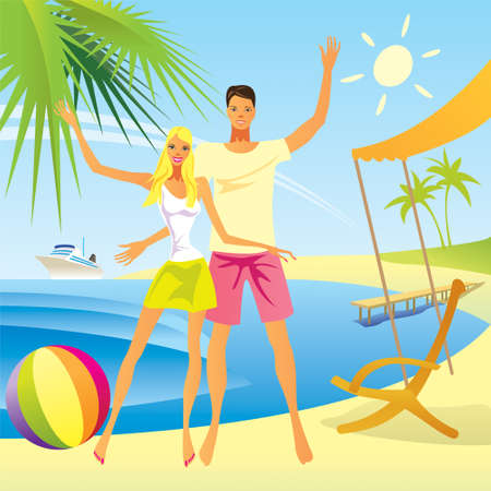 romantic getaway: Romantic couple enjoy their vacation on the beach  Illustration
