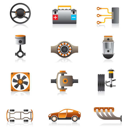 Parts of the car engine illustration Vector