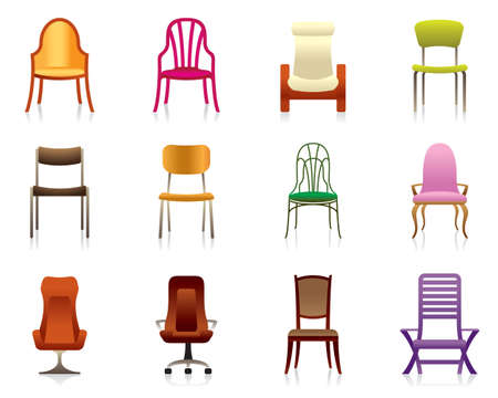Interior, luxury, office, and plastic chairs Vector