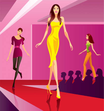 modelo en pasarela: Modelos de moda que representa una colecci�n en la revisi�n