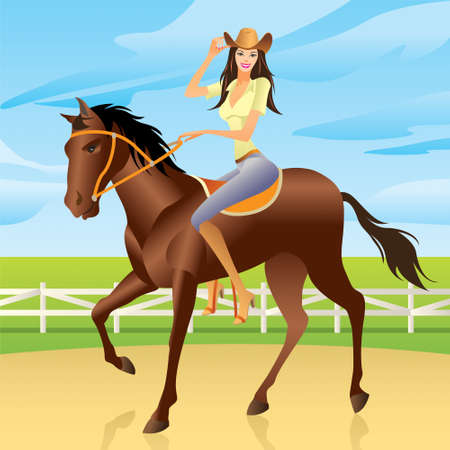 Girl  is riding a horse in Western style Stock Vector - 12481503