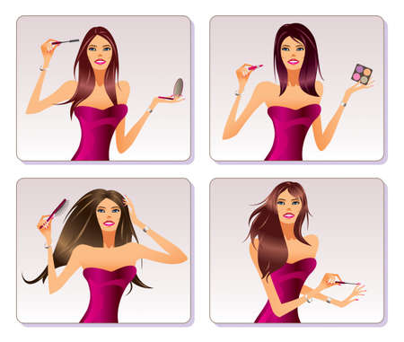 Fashion model is representing  cosmetic collection Stock Vector - 12481684