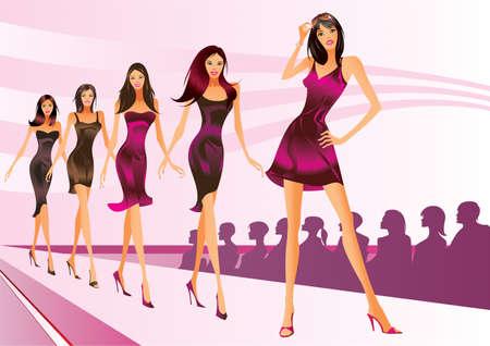 modelo en pasarela: Modelos de moda representan ropas un desfile de moda Vectores