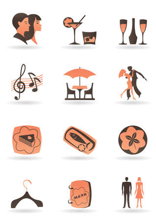 Confectionery, restaurant and club icons  Vector