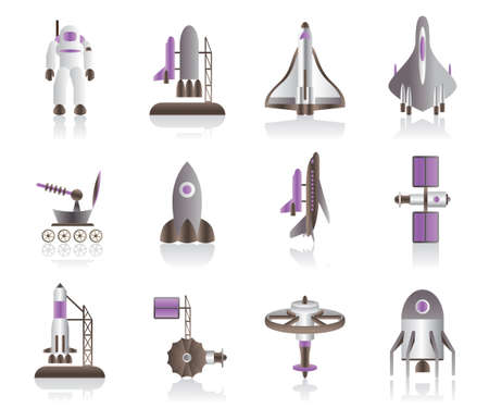 space station: Spacecraft, space shuttles and astronaut Illustration