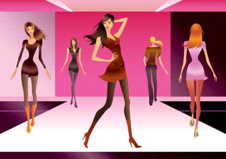 modelo en pasarela: Modelos de moda en la revisi�n de una nueva colecci�n de moda Vectores