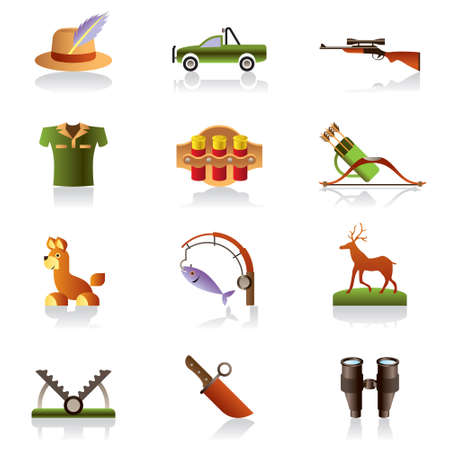 wildlife shooting: Hunting accessories and symbols illustration