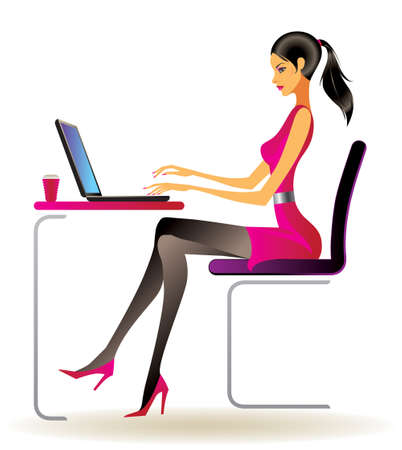 Business woman with laptop in office  Stock Vector - 12481679