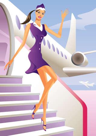 aviones pasajeros: Azafata de bienvenida a bordo del avi�n de pasajeros Vectores