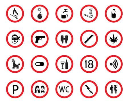 Prohibitive and mandatory public signs Vector
