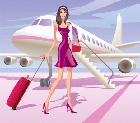 airplane take off: Fashion model is traveling by aircraft