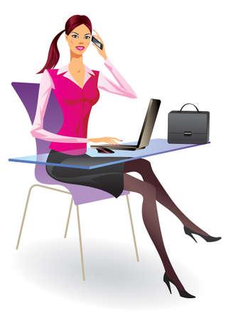 Femme d'affaires avec un ordinateur portable et smartphone dans le bureau Vecteurs