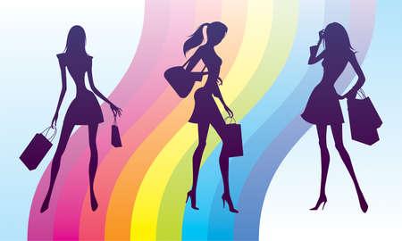 Shopping girls on fashion rainbow Stock Vector - 12481125