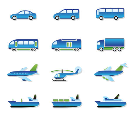 Road, air, rail and water transport illustration Vetores
