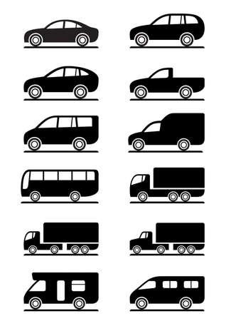 camioneta pick up: Iconos de transporte por carretera establece la ilustración Vectores