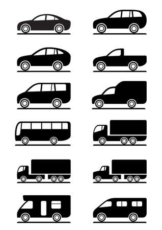 pickup: Road transportation icons set illustration Illustration