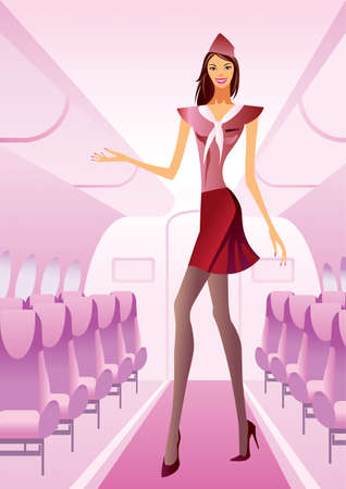 Hostess greets passengers on board Vector