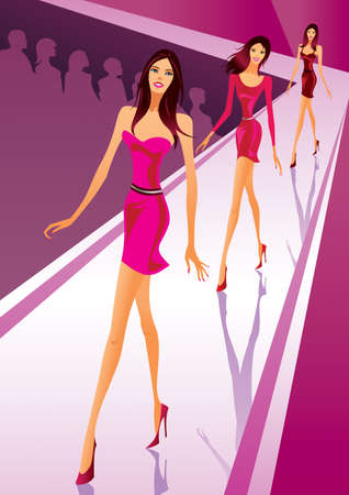 designer clothes: Fashion models show clothes at a fashion review Illustration
