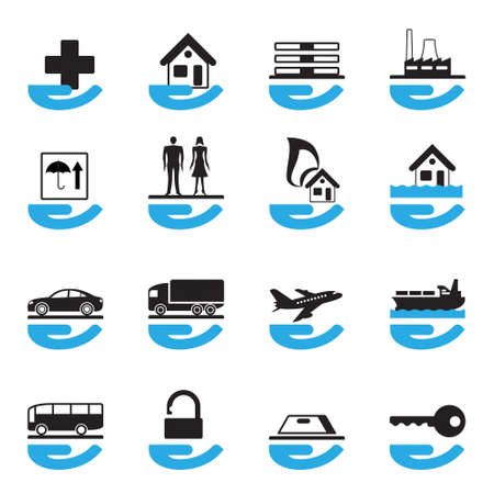 family policy: Diverse insurance icons set illustration