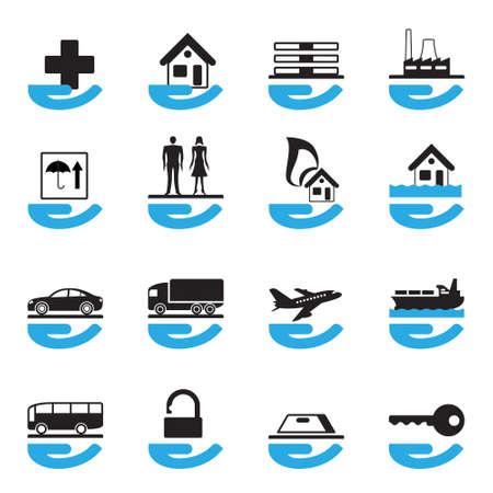 seguros: Diversos iconos de seguros establece la ilustraci�n