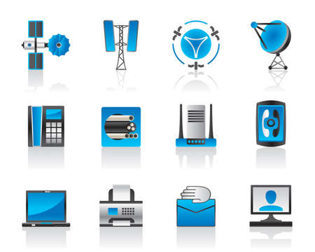 satellite transmitter: Communication and media icons set illustration