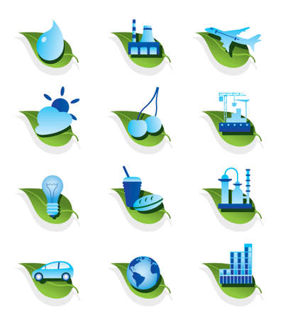 Diverse ecological icons set illustration Vector