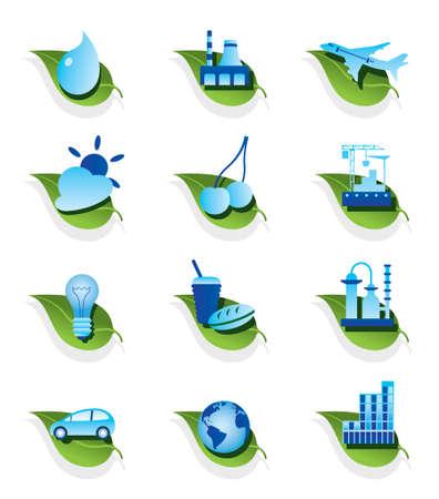 bussines: Diverse ecologische pictogrammen illustratie
