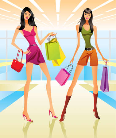 Shopping girls in the mall illustration Vector