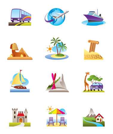 Travel, holidays and vacation icons set Vector