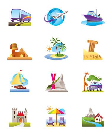 ruin: Travel, holidays and vacation icons set