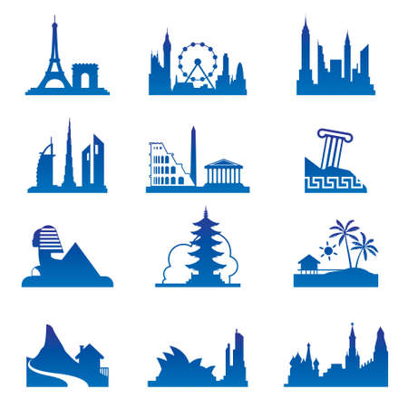 World travel destinations illustration