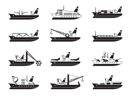 navy ship: Diversos buques mercantes y de pasajeros Vectores