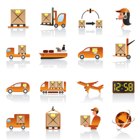 box weight: Logistic icons set  Illustration