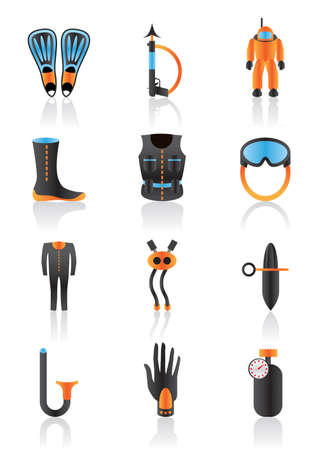 Diving equipment and accessories Stock Vector - 12997332