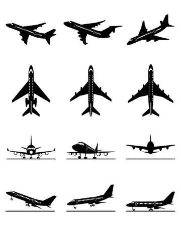 Different passenger aircrafts in flight Vector