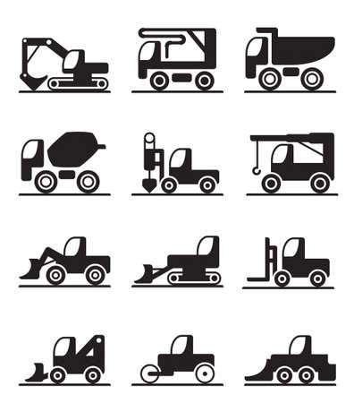 Bouw vrachtwagens en voertuigen Stock Illustratie