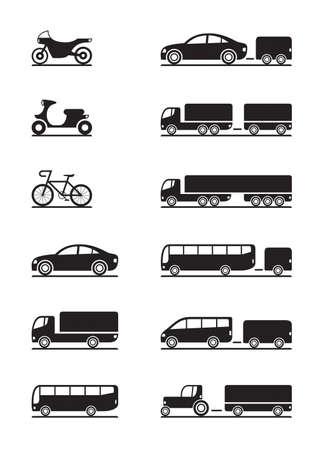 transport: Stra�enfahrzeuge Symbole Illustration