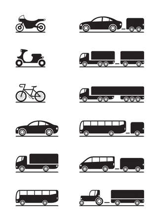 Vehículos de carretera iconos Ilustración de vector