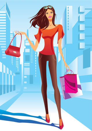 Fashion girl is walking on a street Ilustração