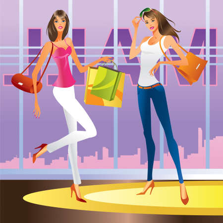 Fashion girls in the mall - vector illustration Vector