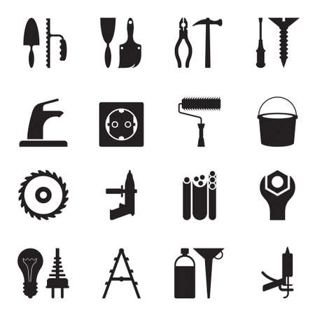engineering tools: Tools and equipment for construction Illustration