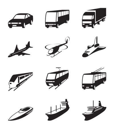 Carretera, mar y espacio de los iconos de transporte establecidos Ilustración de vector