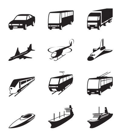 cargo transport: Road, sea and space transportation icons set Illustration