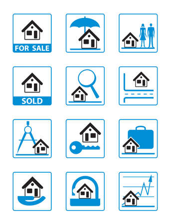 architecture pictogram: Real estate icons set - vector illustration