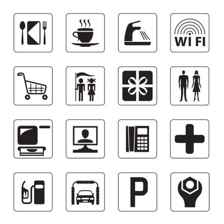 Gas station, mall and motel icons set  Vector