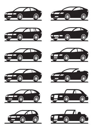 Different modern cars in angle - vector illustration Vector