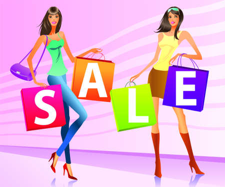 mall signs: Shopping girls with  sale  campaign bags